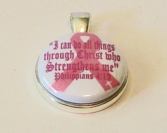Pink Ribbon Awareness Philippians 4:13 I Can Do All Things Through Christ Who Strengthens Me Round Silver Pendant