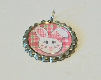 Easter Spring Pink Plaid White Bunny Rabbit Flattened Bottlecap Pendant Necklace