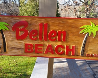 Island Theme Custom Bar Sign - Made to Order - Tropical and Personalized