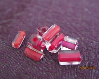Red Cane Glass Square/ Tubes
