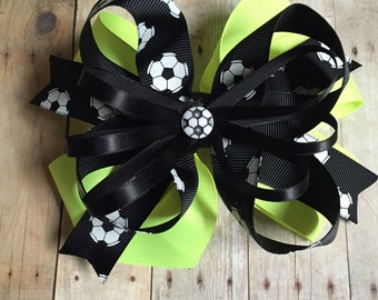 Neon Yellow Soccer Bow - Other Colors Available - Fast Shipping