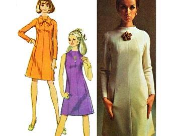 Vintage 60s Dress Pattern Simplicity 7239 SZ 12 Designer Sewing Pattern 1960 Mod Dress Patterns for Women Raglan Sleeve A Line Dress Pattern