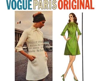 1960s Vogue Pattern / Vogue 2341 Vogue Paris Original Molyneux 60s A Line Dress Mod Dress Vintage Sewing Patterns Vogue Patterns SZ 10 UNCUT