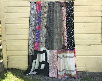 PIN-UP: black and white patterns upcycled repurposed silk scarves shower curtain panel