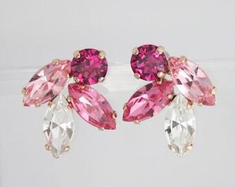 Pink wedding jewelry,pink bridal earrings,bridal earrings,swarovski earrings,navette earrings,marquise earrings,statement earrings,pink