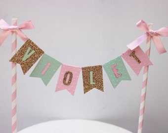 Personalised Cake Bunting/Cake Topper. Mint, Pink and Gold.
