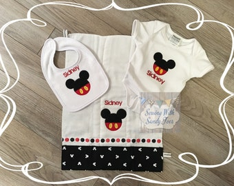 Baby gifts, baby shower gifts, Personalized Baby Gift Set, Mickey Mouse, Onesie, Baby Bib, Burp Cloth, Baby Layette, New baby