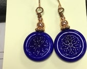 Cobalt blue lampwork earrings with copper