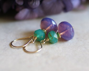 Czech glass earrings, purple glass earrings, violet glass earrings, aqua earrings, Czech glass jewelry, 14k gold fill French hook ear wires