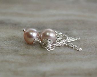 Freshwater pearl drop earrings, pearl ear threads, silver threader earrings, pearl ear threaders, pearl jewelry gift, bridal earrings