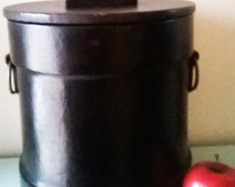 Huge Vintage Leather Covered Ice Bucket