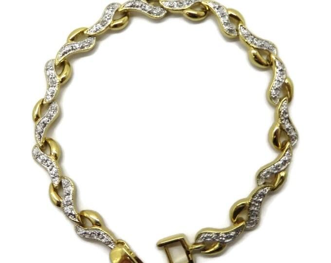 Vintage Diamond Bracelet, Gold Plated Sterling Silver Link Bracelet, Bridal Jewelry, FREE SHIPPING