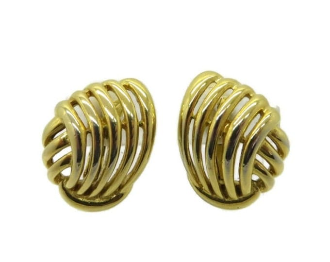 Trifari Swirl Earrings, Vintage Goldtone Clip-on Earrings, Signed Trifari Jewelry, Classic Clip-ons
