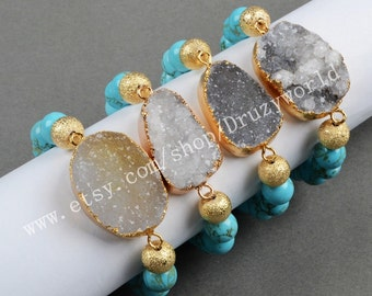 Wholesale Gold Plated Natural Agate Druzy Geode Bracelet With 10mm Blue Howlite Turquoise Beaded Bracelet Natural Druzy Bracelet G0297
