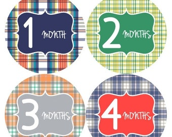 Monthly Baby Stickers Baby Boy Stickers Baby Month Milestone Stickers Baby Month Stickers Month to Month Bodysuit Stickers Shower Gifts  130