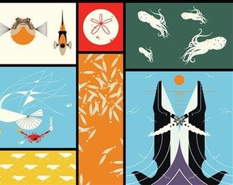 Maritime Panel (Organic Poplin Fabric) by Charley Harper from the Maritime collection for Birch Fabrics