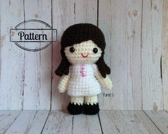 Crochet doll pattern : Kakay Girl doll amigurumi Pattern