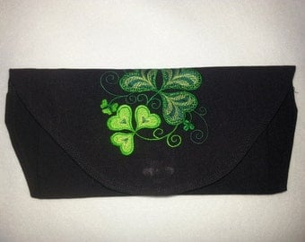 St. Patrick's Day Black Linen like Clutch Embroidered with Brilliantly Colorful Shamrocks