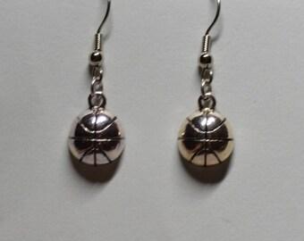 Silver Basketball Earrings