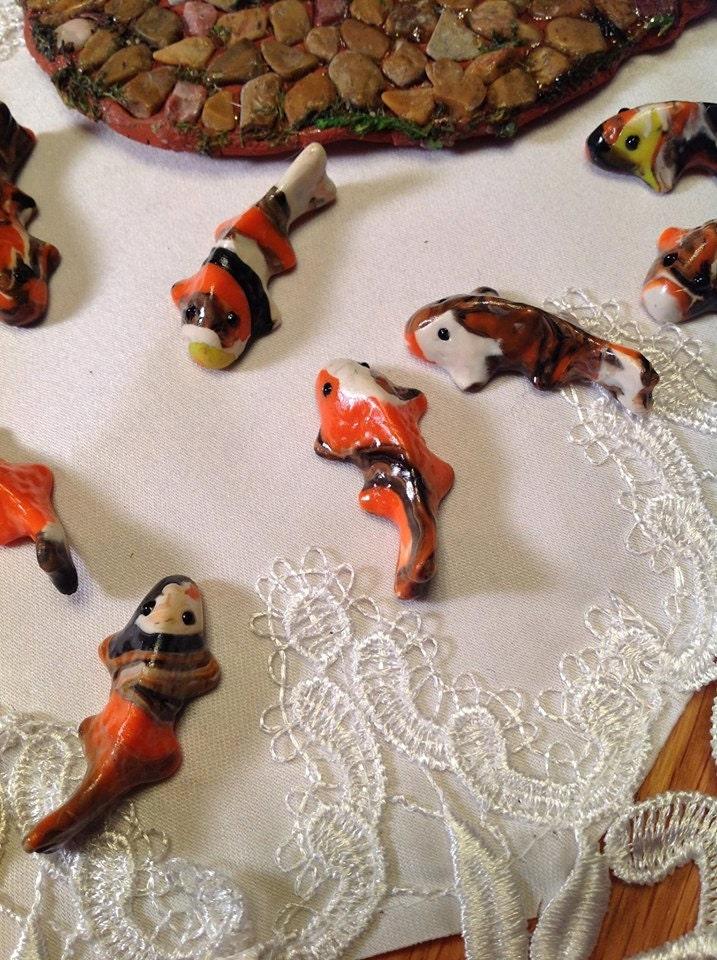Set of 3 miniature koi fish koi pond fairy by for Miniature koi fish