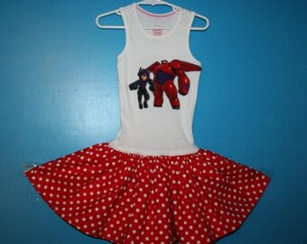 SALE! Girls Baymax, Baymax an Hero inspired twirl dress, Big Hero 6 dress, size 4/5 (23 & 1/2 inches long) READY To SHIP!