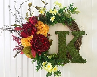 summer wreath, fall wreath, personalized wreath, personalized decor, moss letter, wreath with letter, door wreath, spring wreath