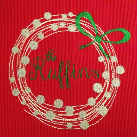 Modern christmas wreath machine embroidery design perfect