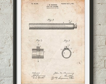 Browning Sight for Firearms Patent Poster, Gun Lover, Black Powder Rifle, Gun Art, Colt Firearms, PP0756
