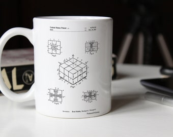 Rubik's Cube Patent Mug, 80s Mug, Retro Toys, Play Room Decor, Birthday Gift, 80s Toys, PP1022
