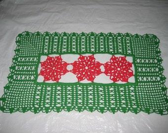 Christmas Rectangular Doily with 3 Poinsettias in center