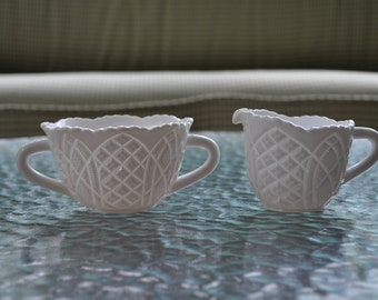 Vintage Kemple Milk Glass Sugar & Creamer Set