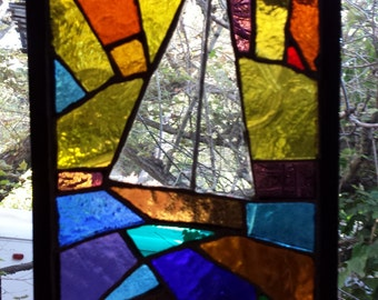 Boat 3 Lead Free Stained Glass Window Panel