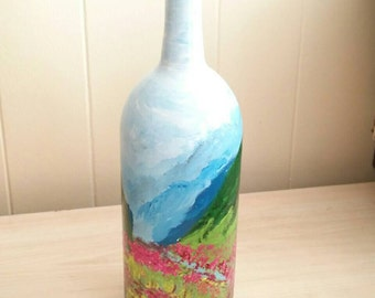 Upcycled Wine Bottle Decor, Recycled, Vase, Valley Painting, Hand Painted,  Home Decor, Wine Bottle Art, Glass Art