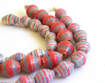 Paper Bead Jewelry Supplies - Paper Beads - Hand painted - Lot of 30 - #723