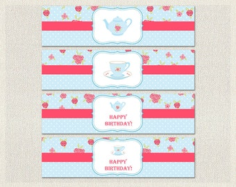 Printable Water Bottle Labels Wraps Birthday Tea Party Pink 1st 2nd 3rd Blue Girl IV-10