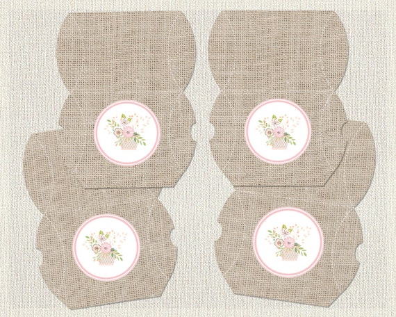 Printable Birthday Pillow Treat Boxes Favor Box Shabby Chic Burlap 1st 2nd 3rd Pink Girl IV-7 by ...