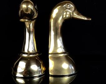 Vintage Brass Weighted Mallard Duck Bookends
