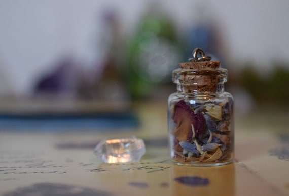 Terrarium Jewelry Crystal Necklace Woodland Fairy Forest Witch Fashion Fairy Jar Lavender Rose Herbs Magic Potion Halloween Witchy Jewelry