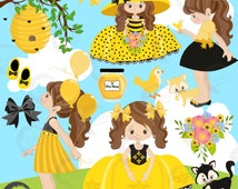 80%OFF Bee girl clipart, Honey Bee clipart, bee girl clipart, Summer girls, cute honey girls, cute summer girls, commercial-use AMB-1054