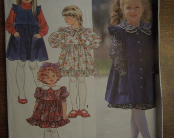Simplicity 8021, sizes 5-6X, girls, childrens  dress and pinafore, UNCUT sewing pattern, craft supplies