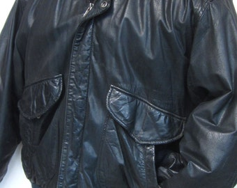 Hunt Club Men's Dark Brown/Black Distressed Leather Bomber Jacket Sz 44R