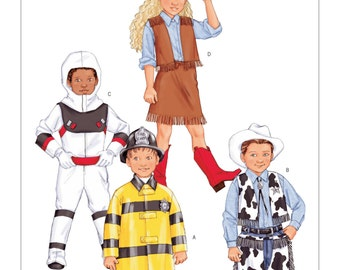 3244 Butterick Children's/Boys'/Girls' Space, Rodeo and Fire Fighter Costumes, halloween costumes