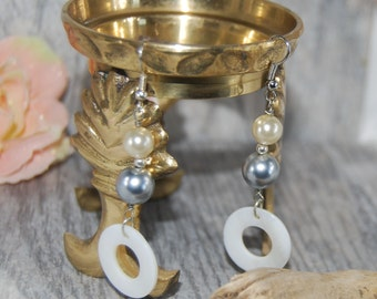 Pearl and Shell Drop Earrings