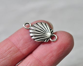 20pcs Antique Silver Seashell Sea Shell Charm Pendant Connector 14x23mm N048