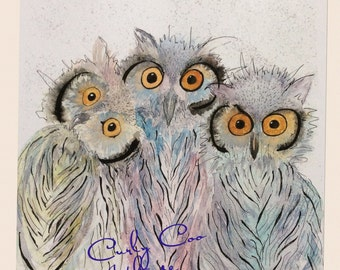 three WISE OLD OWLS watercolour print