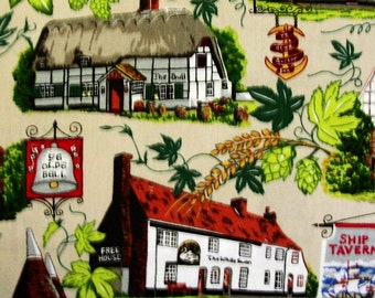 Half Metre Patchwork Quilting Fabric Nutex English Pubs