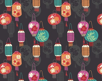 Minshan A120-3 Lanterns on slate Lewis & Irene Patchwork Quilting Fabric