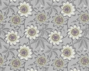 The Botanist A124-2 Grey passion flower Lewis & Irene Patchwork Quilting Fabric
