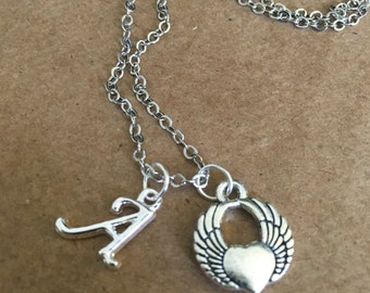 A initial Wing Heart Charm Necklace