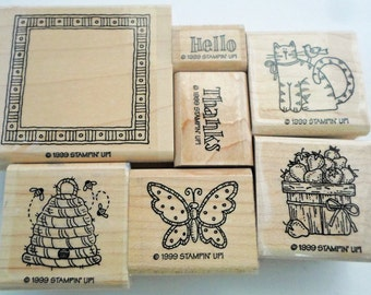 Country Greetings Beehive Butterfly Bushel of Apples and More Retired Stampin Up 7 Rubber Stamps  -- CODE 3